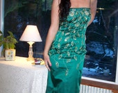 Emerald Green Long Satin Formal Gown- Embellished with Gold Bead work-Prom dress-St. Patricks wedding-Formal