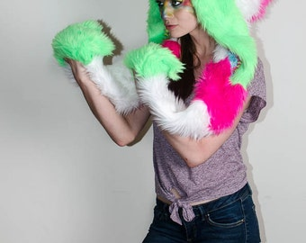 Upcycled Neon Pink, Green, and White Elf Scoodie