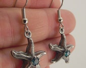 Antiqued Silver Starfish Earrings with Emerald Swarovski Crystals, Silver Earrings, Swarovski Earrings