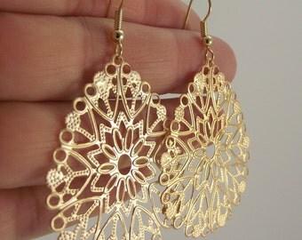 Teardrop Gold Filigree Earrings, Gold Earrings, Gold Teardrop Earring, Sophisticated, Bold, Gift for her, Gift under 25