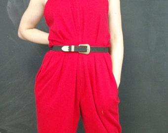 Vintage Red Jumpsuit, Von Hoxey, 1980s