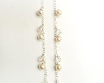 Long Pearl earrings, Pearl Wedding earrings, Swarovski Crystal Bridal Earrings - Maria