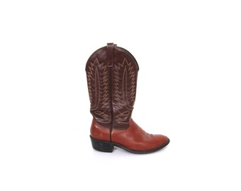 Vintage 80s Two Toned Hazelnut Chocolate Leather Cowboy Boots men 8 women 9.5