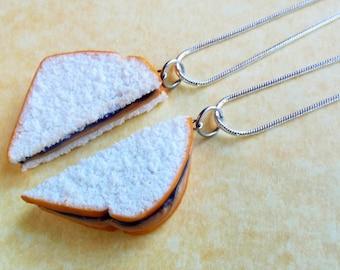grape peanut butter and jelly sandwich best friend necklaces polymer clay bff pbandj