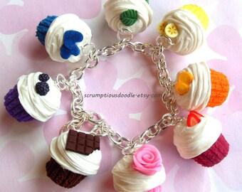 polymer clay rainbow cupcake charm bracelet