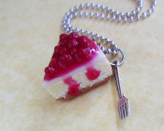 polymer clay cheesecake necklace with fork charm