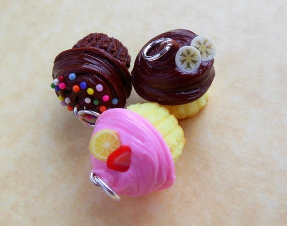 polymer clay cupcake charm trio chocolate with sprinkles strawberry lemon chocolate banana