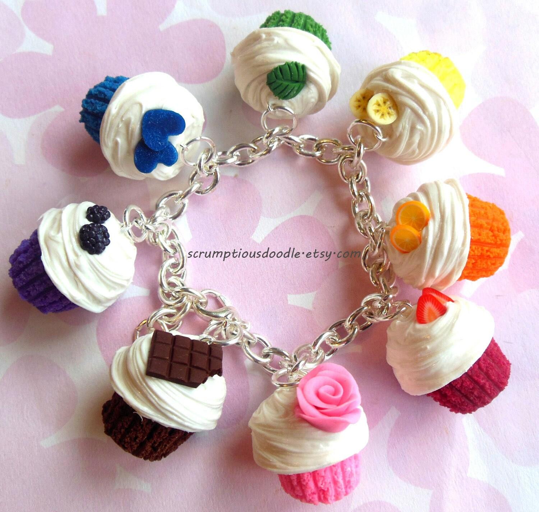 Polymer Clay Charm Bracelet: Polymer Clay Rainbow Cupcake Charm Bracelet By