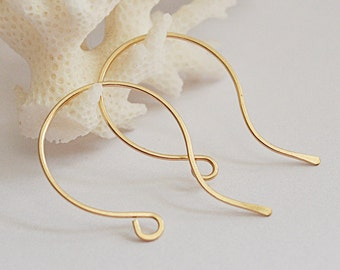 Gold French Hoop Ear Wires - Handmade Gold Filled Hook Earwire Earrings - Artisan Ear Wires Earrings - Hoop Earwires 20 gauge - Unique