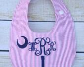 Personalized bib, Monogrammed bib, Baby shower gift, Seersucker bib