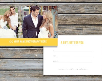 INSTANT DOWNLOAD! SALE! Photography Gift Certificate Template - Gift Card Design - Photo Marketing Templates - Design By Bittersweet