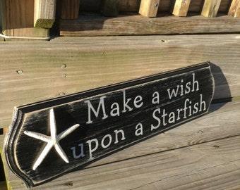 Beach Starfish Sign Make a Wish BLACK WHITE Coastal Nautical Beach Decor