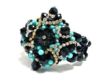 Turquoise & Black Cluster Bracelet - Hand Made by Ruby In The Dust