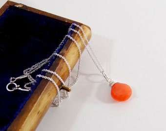 Peach Moonstone Necklace on Sterling Silver