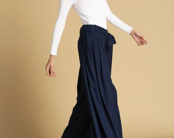 Navy blue pants -  women wild leg pants - maxi pants with self tie belt - unique linen maxi pants -  designer pants - Custom made  (471)