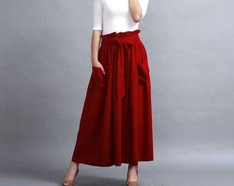 Red skirt, A line skirt, Maxi linen skirt, Pleated skirt, elastic waist skirt, Full skirt, skirt with pockets, Custom made midi skirt  (288)