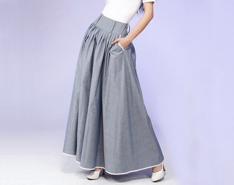 Gray Maxi Skirt - Long Cotton skirt with Contrasting Piping & Hip Pockets - pleated skirt - Full skirt - 2016 spring skirt - Handmade (557)