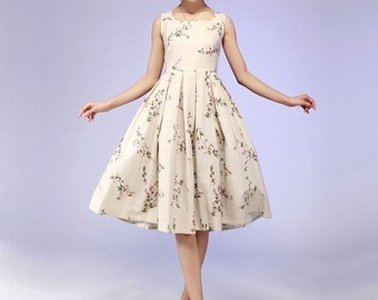 Linen dress, floral dress, midi dress, summer dress, pleated dress, fitted dress, handmade dress, womens dresses, gift ideas (579)