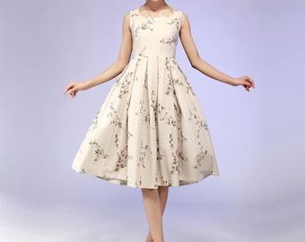 floral print linen dress (579)