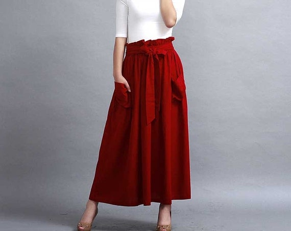 Red skirt A line skirt Maxi linen skirt Pleated skirt