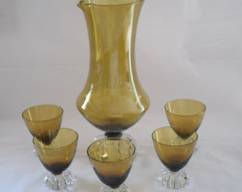 Aseda Swedish Olive Green Mid Mod Glass 6 Pc. Cocktail Sherry Set