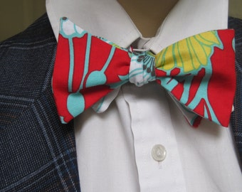 Bow Tie Bright Red Floral