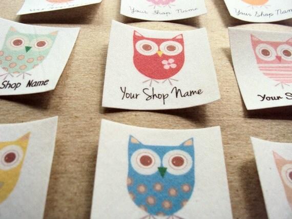 Owl Shop Labels Iron Fabric Labels Personalized – Desenhos Para Colorir