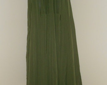 Egyptian Fusion Bellydance Olive Green Chiffon Professional 7 Yard Circle Skirt- 037