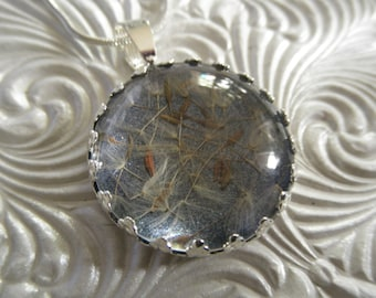 Dandelion Seeds Stardust-Ride The Wind-Victorian Crown Pendant Atop Glistening Dusty Blue Background-Symbolizes Happiness-Gifts Under 25