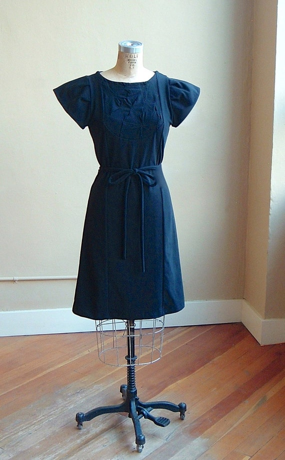 Black Dress with Turquoise, cotton jersey, a-line, puff sleeves, modern chic style- size small