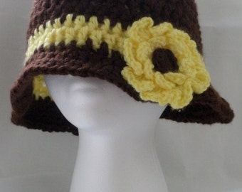 Brown Hat with Yellow Flower