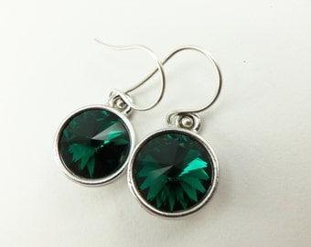 Emerald Birthstone Earrings Sterling Silver Drop Earrings Green Crystal Earrings May Birthstone