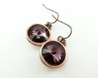 Mauve Earrings Antique Pink Drop Earrings Crystal Dangle Earrings Dark Pink Purple Earrings Copper Dangle Earrings