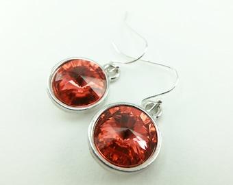 Dark Peach Sterling Silver Drop Earrings Crystal Drop Earrings Dark Peach Dangle Earrings