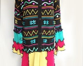 One of a Kind Upcycled Multi Colored Mardi GRAS Sweater Coat