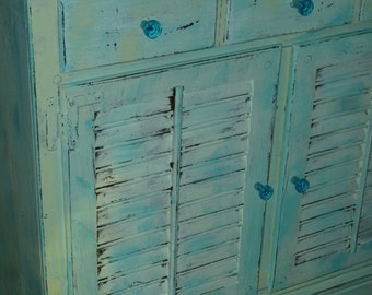 Cottage Cabinet B E A C H  Chest Dresser Vintage Poppy Cottage Painted Furniture