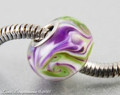 Glass Large Hole Charm Bead, handmade lampwork, Purple Spring Violets