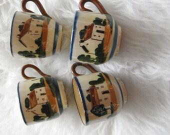 English Mottoware Teacups, set of 4