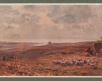 Antique Art Print, Silver Lining of the Cloud (2) James Aumonier, Adur, South Downs, Sheepfold, 1901 (1890)