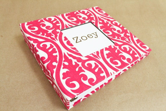 Baby Memory Book - Pink and White Damask  (80 designed journaling pages & personalization included with every album)