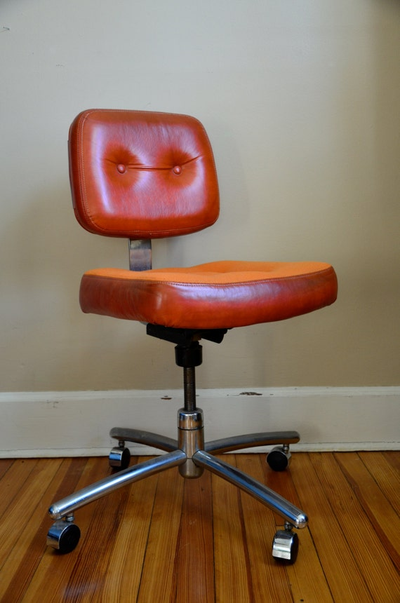 Industrial Chic.  HON Orange Office Chair.