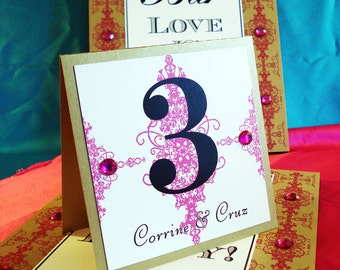 10 Moroccan Table Numbers With Rhinestone Embellishments - The Corrine Collection - By My Lady Dye