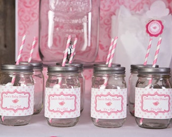 Water Bottle Labels - Baby Shower Decorations - Lil Birdie Theme in Hot Pink & Light Pink (12)
