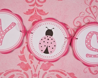 Ladybug BABY SHOWER Banner - Ladybug Baby Shower Decorations in Hot & Light Pink