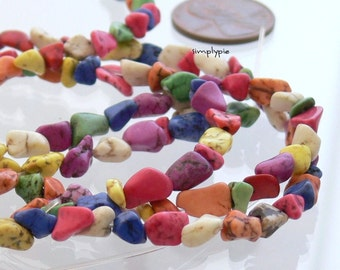 Mixed Colorful Magnesite Gemstone Small Nugget Beads 16-inch Strand