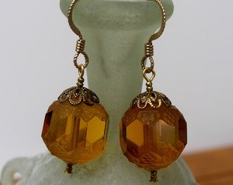Amber Colored Art Deco Glass Beaded Earrings, Vintage Pressed Glass and Faceted Czech Glass Dangle Earrings, Gold Filled Ear Wires