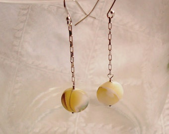 Wire Wrapped Coin White Mother of Pearl Dangle Sterling Silver Earrings