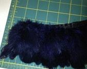 "Dark Navy Blue Feather Trim:  3"" feathers costume, hair"