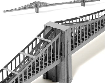 Brooklyn Bridge, assembled model || 39 inches long model || silver or steel color