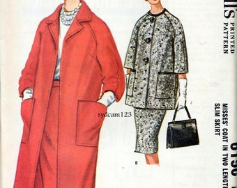 Vintage 1961 Collarless Raglan 3/4 Sleeve Coat Two Lengths and Pencil Skirt...McCalls 6196 Bust 34